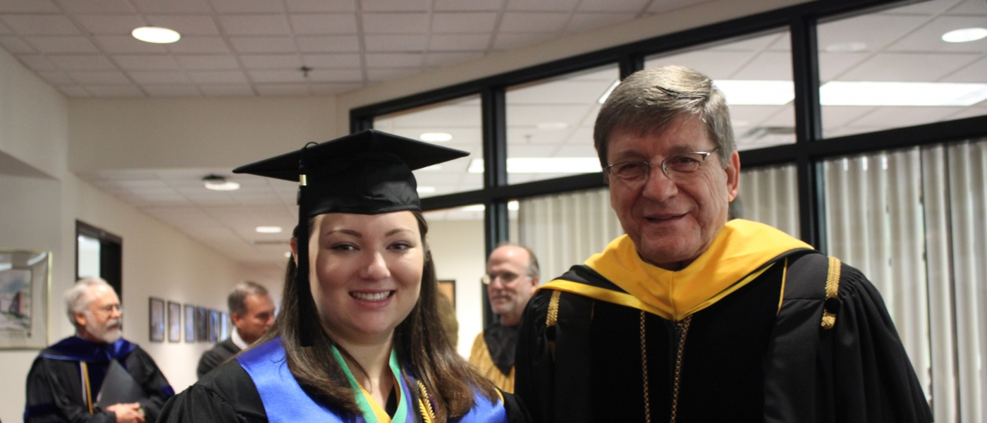 President of wlu with student
